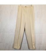 "L L BEAN Womens Ivory Khaki Flannel Lined Pants Size 14 T (32"" Inseam) O... - $25.38"