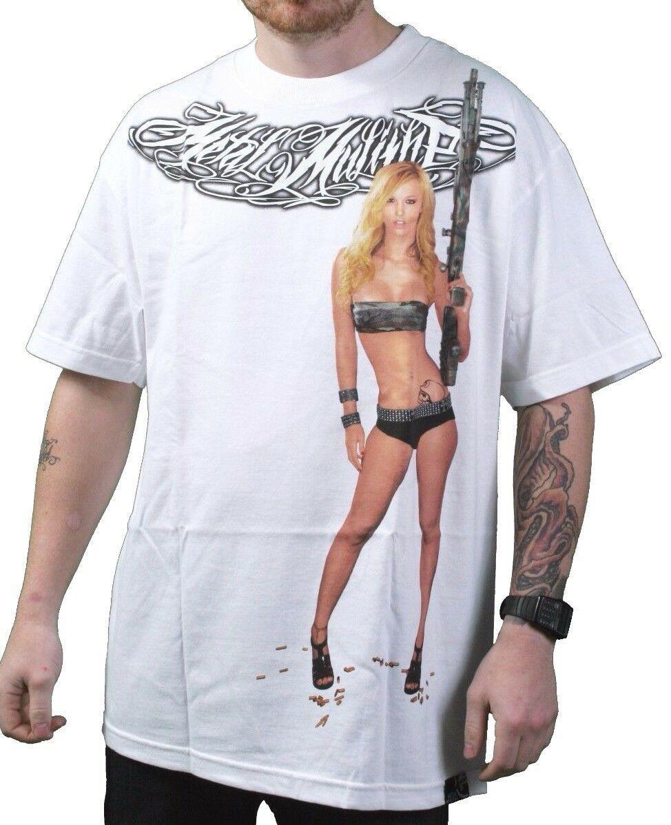 Metal Mulisha White Sharp Shooter Gun Riffle Sexy Armed Girl T-Shirt Small NWT