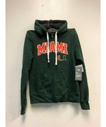 University Of Miami Hurricanes Women's Zip Sweater GREEN/ORANGE, Sz SMALL - $47.49