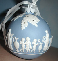 Wedgwood BLUE ICON Christmas Ball Ornament White Relief & Rhinestones New - $74.90