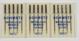 Schmetz Metallic Needles 3 packs size  80/12 - $15.95