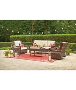 Park Meadows Brown Wicker Outdoor Loveseat with Beige Cushion - $315.00