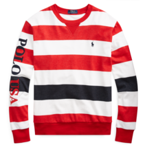 Polo Ralph Lauren Mens Striped Terry Pullover Red/White/Black Sizes L XL NWT - $91.81