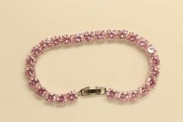 10Ct Round Cut Pink Saphhire 14K White Gold Over Women Tennis Bracelet F... - $215.04