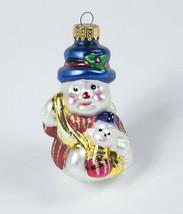 CHRISTMAS UNIQUE TREASURE GLASS HANDMADE ORNAMENT HOLIDAY SNOWMAN NEW - $9.89