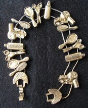 "Charm Bracelet Hair Stylist Dresser TOFA 1995 Slider Goldtone 7 1/2"""