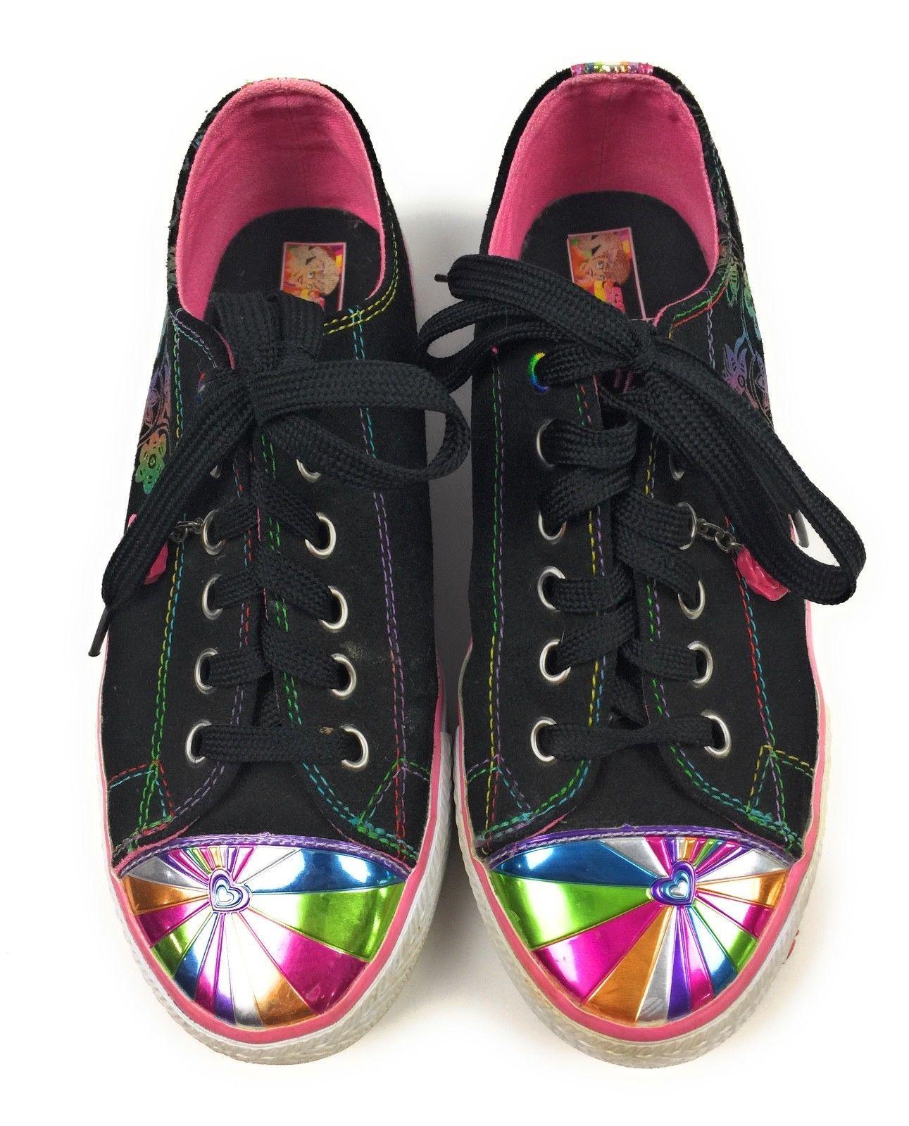 Skechers Fashion Sneakers Sporty Shorty Black, Rainbow Trim Women's 5 US, 37 EUR