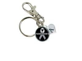 Custom Parkinson's Disease Awareness Ribbon Silver Key Chain Initial Charms Gift - $10.99