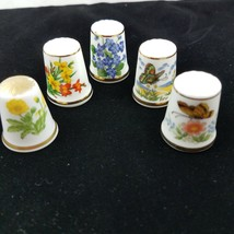 Lot of 5 Floral Butterfly Thimbles Bone China Japan Spode England Gold Rim  - $12.16