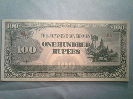 Burma 100 Rupees Japanese Occupation Banknote P-17a *VF* 5b10.4 - $10.00