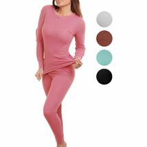 Women's Cotton Waffle Knit Thermal Underwear Stretch Shirt & Pants 2pc Set