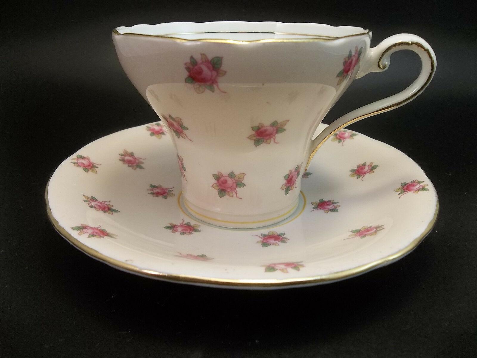 Aynsley Tea Cup Saucer Set Pink Roses English Bone China Teacup