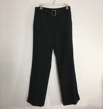 Larry Levine Womens Dress Pants Size 10 Black Pinstripe Stretch Career Cuffed - $11.88