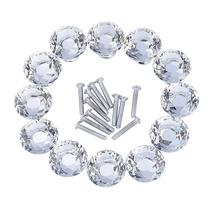 12 Pieces Diamond Shape Crystal Glass Cabinet Knobs for Cupboard and Dra... - €43,54 EUR