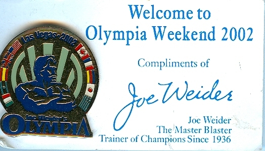 Joe Weider's Olympia Weekend 2002 Lapel Pin