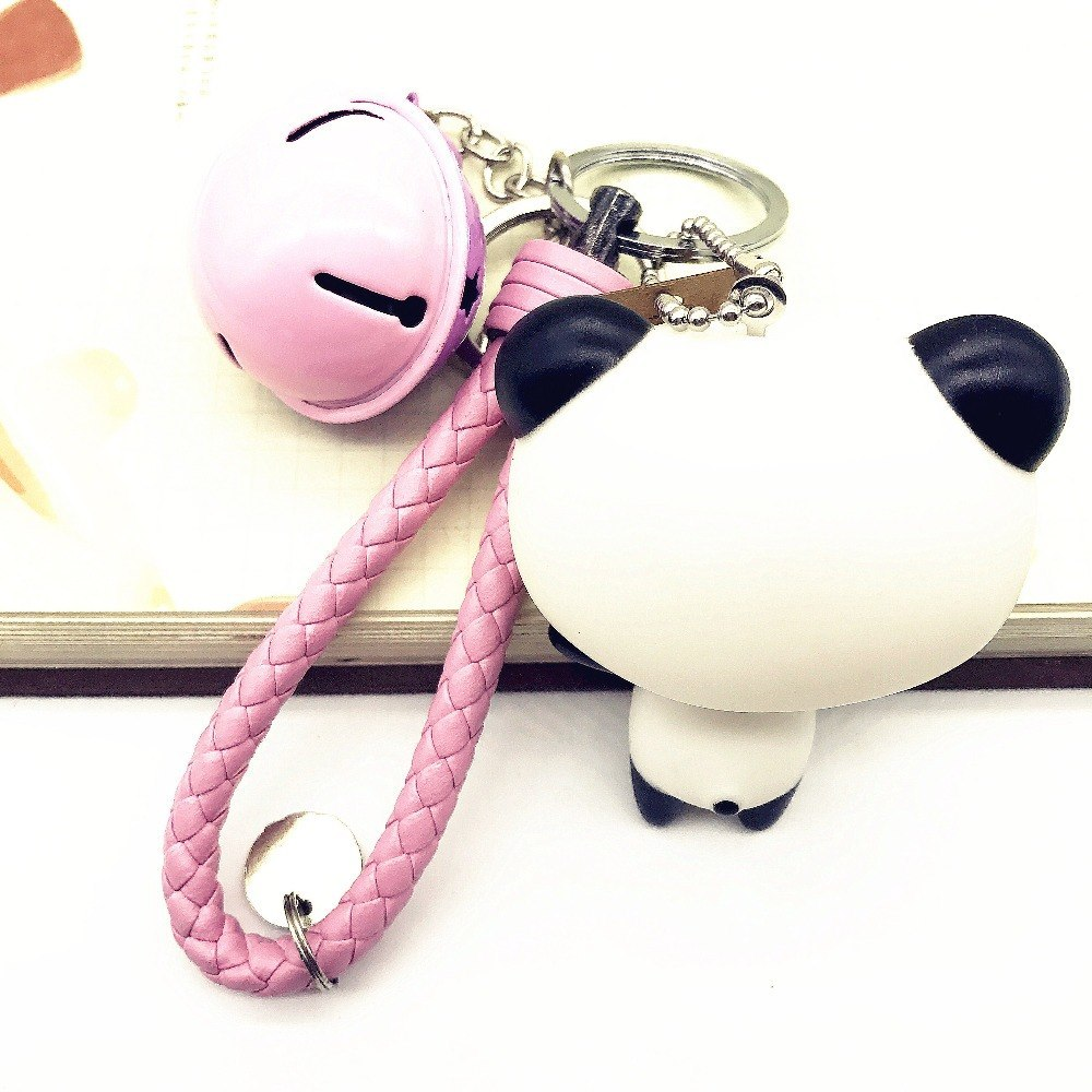 Panda Keychain Fashion Leather keychain Pink keychain Toy Doll