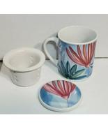 Floral coffee tea Cup Mug Strainer Casa & Ideas diffuser strainer Lid - $23.36