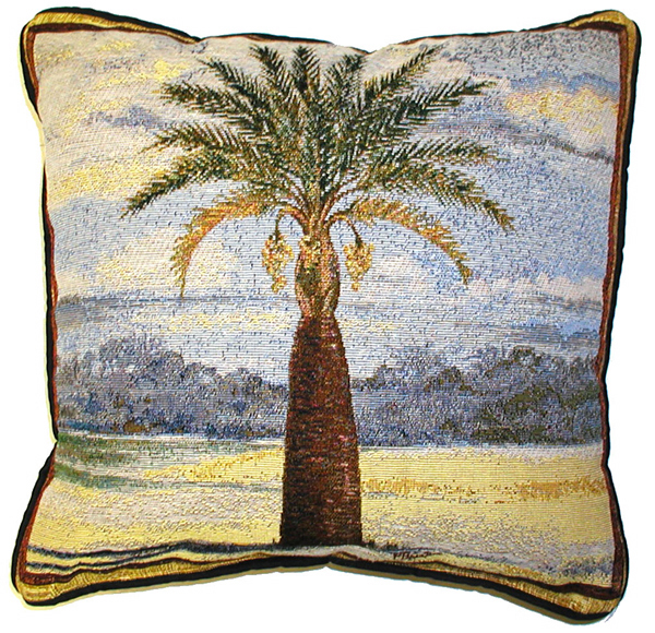 18x18 PALM TREE Tropical Beach Ocean Tapestry Cushion Pillow - $25.00