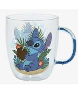 Disney Lilo And Stitch Beach Scene Floating Glitter Handle 14 OZ. Glass Mug - $34.15