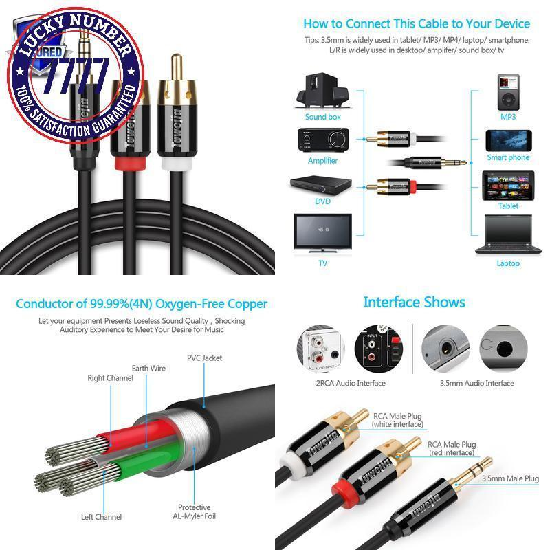 Rca Audio Cable Tuwejia Super Hd 3.5Mm Aux and 50 similar items