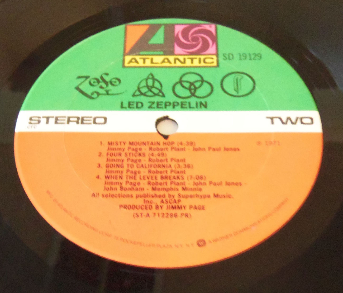 Led Zeppelin IV Zoso Lp Columbia NY Press lyric Sheet Inner No Bar Code
