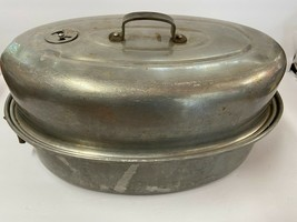 "Vintage Mirro Aluminum Roasting Pan 16"" x 10""  877M With Vent Made in USA - $24.26"