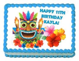 HULA HAWAIIAN TIKI party edible cake image cake topper - personalized free! - $7.80