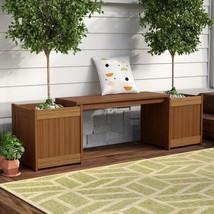 Wood Planter Bench Rectangular Indoor Outdoor Garden Flower Diplay Yard ... - $138.34