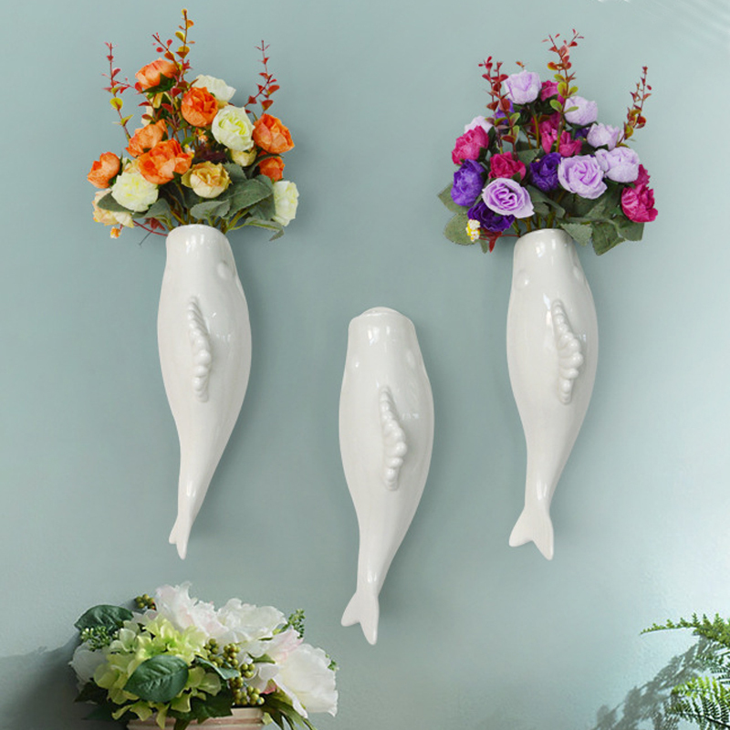 Interior Wall Hung Decorative Fish Shape Vase with Artificial Flowers Home Bar image 9