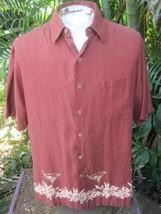Hawaiian ALOHA shirt L pit to pit 24 CARIBBEAN Silk cotton bartender mar... - $10.77