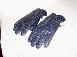 Vintage Aris Blue Leather Insulated Gloves Size Large - $20.38