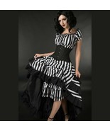 Black White Striped Beetlejuice Long 3 Layer Victorian Goth Skirt Lace u... - $69.63