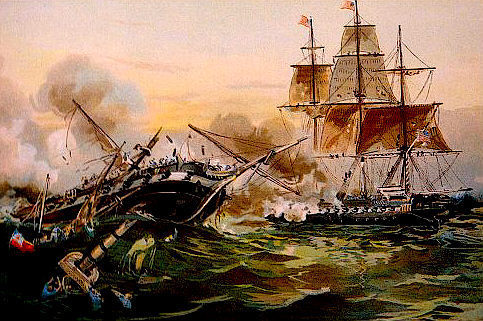 WAR of 1812, USS CONSTITUTION  vs.HMS GUERRIERE 13 x 10 in GICLEE CANVAS PRINT