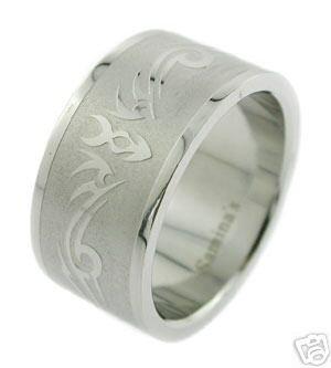 Steel Jewelry Band sz 9 NIP new engraved design LOOK
