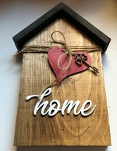 Small House Wood Decor Home with Heart and Key - $14.99