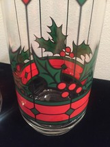 Vintage 70s Stained glass holly Christmas cocktail glasses image 2