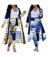 Long Sleeve 2 Pieces Set Women Floral Printed Long Cardigan Coat and Pen... - $40.49