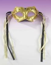 Gold Damask Venetian Style Mardi Gras Masquerade Mask w/ Ribbons & Rhinestones - $12.09