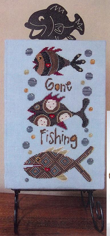 6x12 Charcoal Table Stand for Fish Stix Gone Fishing cross stitch Ackfeld Mfg