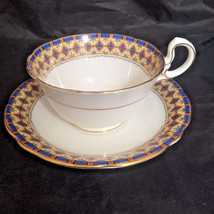 Vintage Aynsley Cup & Saucer Fine Bone China England Blue Gold Diamond A... - $24.95