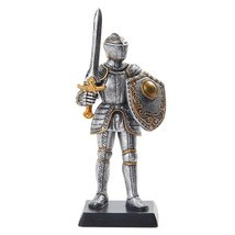 """Doll House Miniature 5"""" Medieval Knight With Arming Sword Figurine Suit Of Armor - $16.99"""