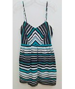 City Triangles Womens Sz 7 Junior Sundress White Black Green Striped B1 - $9.99
