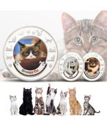 WR 8PCS Cute Cat Colored Silver Coin Animal Kitty Medal Girl Gifts for C... - $21.80