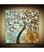 Abstract Art PRINT White Cherry Blossom tree on stretched ready to hang ... - $245.00