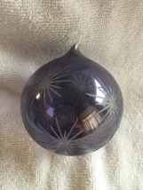 Hand Blown ETCHED Glass Gazing Ball Hanging Christmas Ornament Orb Purple - $16.78