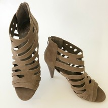 NEW Vince Camuto AMENDIA Suede Cut Out Peep Toe Bootie Heels Taupe Size 9.5 - $60.75