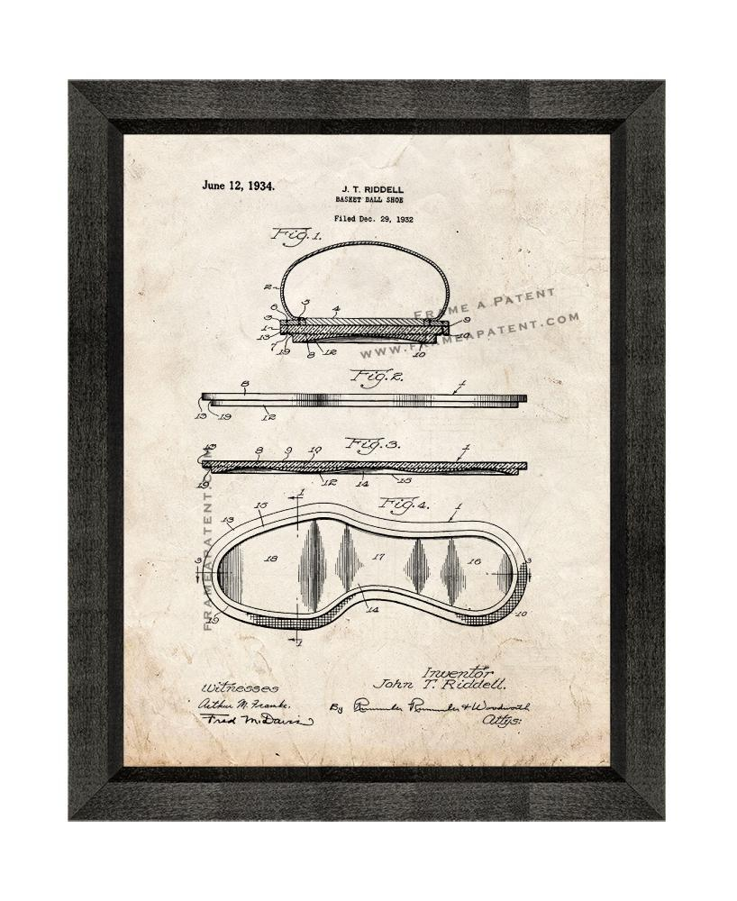 Primary image for Basket Ball Shoe Patent Print Old Look with Beveled Wood Frame