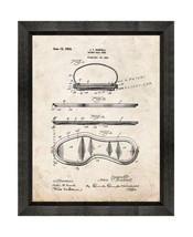 Basket Ball Shoe Patent Print Old Look with Beveled Wood Frame - $24.95+