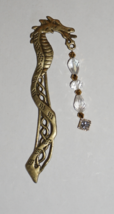 Bronze Dragon Bookmark, Crystal Charm, Crystal Book Charm, Back To School - $7.99