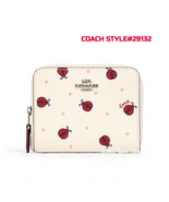 COACH LADYBUG SMALL ZIP AROUND WALLET IN LEATHER SV/CHALK/RED MULTI STYL... - $68.19